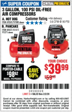 Harbor Freight Coupon 3 GALLON 100 PSI OILLESS HOT DOG STYLE AIR COMPRESSOR Lot No. 97080/69269 Expired: 2/2/20 - $39.99
