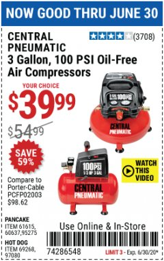 Harbor Freight Coupon 3 GALLON 100 PSI OILLESS HOT DOG STYLE AIR COMPRESSOR Lot No. 97080/69269 Expired: 6/30/20 - $39.99