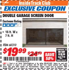 Harbor Freight ITC Coupon DOUBLE GARAGE DOOR SCREEN Lot No. 68310 Expired: 5/31/18 - $19.99