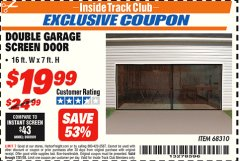 Harbor Freight ITC Coupon DOUBLE GARAGE DOOR SCREEN Lot No. 68310 Expired: 7/31/18 - $19.99