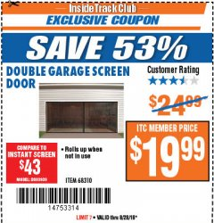 Harbor Freight ITC Coupon DOUBLE GARAGE DOOR SCREEN Lot No. 68310 Expired: 8/28/18 - $19.99