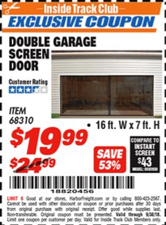 Harbor Freight ITC Coupon DOUBLE GARAGE DOOR SCREEN Lot No. 68310 Expired: 9/30/18 - $19.99