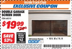 Harbor Freight ITC Coupon DOUBLE GARAGE DOOR SCREEN Lot No. 68310 Expired: 3/31/19 - $19.99