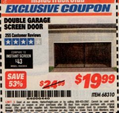 Harbor Freight ITC Coupon DOUBLE GARAGE DOOR SCREEN Lot No. 68310 Expired: 7/31/19 - $19.99