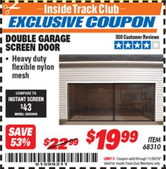 Harbor Freight ITC Coupon DOUBLE GARAGE DOOR SCREEN Lot No. 68310 Expired: 11/30/19 - $19.99