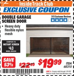 Harbor Freight ITC Coupon DOUBLE GARAGE DOOR SCREEN Lot No. 68310 Expired: 1/31/20 - $19.99