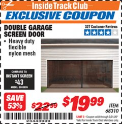 Harbor Freight ITC Coupon DOUBLE GARAGE DOOR SCREEN Lot No. 68310 Expired: 3/31/20 - $19.99