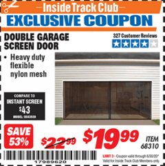 Harbor Freight ITC Coupon DOUBLE GARAGE DOOR SCREEN Lot No. 68310 Valid Thru: 6/30/20 - $19.99