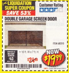 Harbor Freight Coupon DOUBLE GARAGE DOOR SCREEN Lot No. 68310 Expired: 6/30/18 - $19.99