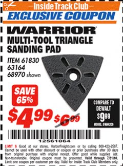 Harbor Freight ITC Coupon MULTI-TOOL TRIANGLE SANDING PAD Lot No. 61830/68970 Expired: 7/31/18 - $4.99