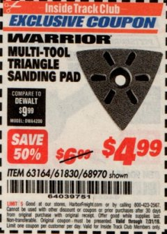 Harbor Freight ITC Coupon MULTI-TOOL TRIANGLE SANDING PAD Lot No. 61830/68970 Expired: 7/31/19 - $4.99