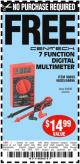 Harbor Freight FREE Coupon 7 FUNCTION DIGITAL MULTIMETER Lot No. 30756 Expired: 4/9/15 - NPR