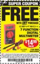 Harbor Freight FREE Coupon 7 FUNCTION DIGITAL MULTIMETER Lot No. 30756 Expired: 8/2/15 - FWP