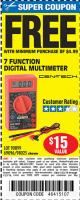 Harbor Freight FREE Coupon 7 FUNCTION DIGITAL MULTIMETER Lot No. 30756 Expired: 1/27/16 - FWP