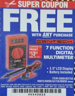 Harbor Freight FREE Coupon 7 FUNCTION DIGITAL MULTIMETER Lot No. 30756 Expired: 8/23/18 - FWP