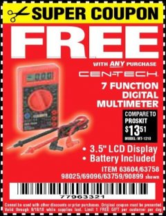 Harbor Freight FREE Coupon 7 FUNCTION DIGITAL MULTIMETER Lot No. 30756 Expired: 9/18/18 - FWP