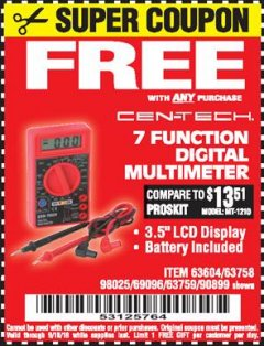 Harbor Freight FREE Coupon 7 FUNCTION DIGITAL MULTIMETER Lot No. 30756 Expired: 9/10/18 - FWP