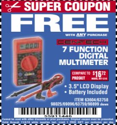 Harbor Freight FREE Coupon 7 FUNCTION DIGITAL MULTIMETER Lot No. 30756 Expired: 11/3/18 - FWP