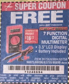 Harbor Freight FREE Coupon 7 FUNCTION DIGITAL MULTIMETER Lot No. 30756 Expired: 2/5/19 - FWP