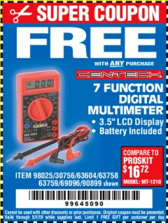 Harbor Freight FREE Coupon 7 FUNCTION DIGITAL MULTIMETER Lot No. 30756 Expired: 5/1/19 - FWP