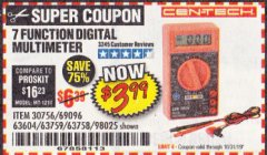 Harbor Freight Coupon 7 FUNCTION DIGITAL MULTIMETER Lot No. 30756 Expired: 10/13/19 - $3.99