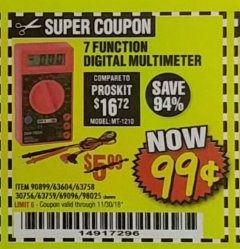 Harbor Freight Coupon 7 FUNCTION DIGITAL MULTIMETER Lot No. 30756 Expired: 11/30/18 - $0.99