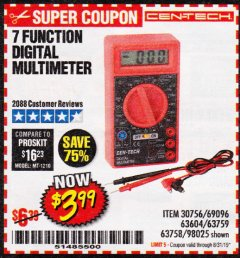 Harbor Freight Coupon 7 FUNCTION DIGITAL MULTIMETER Lot No. 30756 Expired: 8/31/19 - $3.99