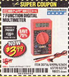 Harbor Freight Coupon 7 FUNCTION DIGITAL MULTIMETER Lot No. 30756 Expired: 11/30/19 - $3.99
