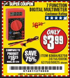 Harbor Freight Coupon 7 FUNCTION DIGITAL MULTIMETER Lot No. 30756 Valid Thru: 12/14/19 - $3.99