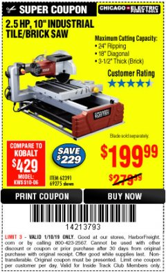 "Harbor Freight ITC Coupon 2.5 HP, 10"" TILE/BRICK SAW Lot No. 69275/62391/95385 Expired: 1/10/19 - $199.99"