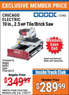 "Harbor Freight ITC Coupon 2.5 HP, 10"" TILE/BRICK SAW Lot No. 69275/62391/95385 Valid: 1/1/21 1/28/21 - $289.99"