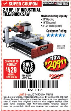 "Harbor Freight Coupon 2.5 HP, 10"" TILE/BRICK SAW Lot No. 69275/62391/95385 Expired: 7/31/18 - $209.99"
