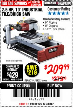 "Harbor Freight Coupon 2.5 HP, 10"" TILE/BRICK SAW Lot No. 69275/62391/95385 Expired: 12/31/18 - $209.99"