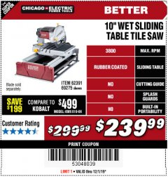 "Harbor Freight Coupon 2.5 HP, 10"" TILE/BRICK SAW Lot No. 69275/62391/95385 Expired: 12/1/19 - $239.99"