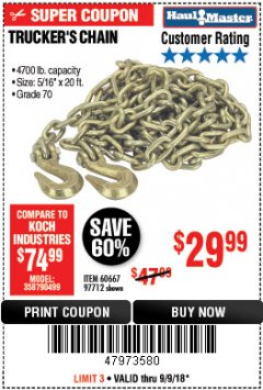 "Harbor Freight Coupon 5/16"" x 20 FT. GRADE 70 TRUCKER'S CHAIN Lot No. 60667/97712 Expired: 9/9/18 - $29.99"