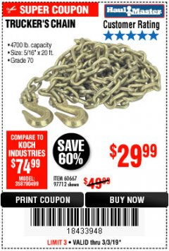 "Harbor Freight Coupon 5/16"" x 20 FT. GRADE 70 TRUCKER'S CHAIN Lot No. 60667/97712 Expired: 3/3/19 - $29.99"