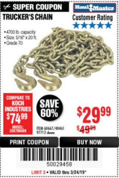 "Harbor Freight Coupon 5/16"" x 20 FT. GRADE 70 TRUCKER'S CHAIN Lot No. 60667/97712 Expired: 3/24/19 - $29.99"