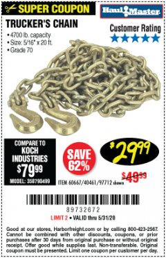 "Harbor Freight Coupon 5/16"" x 20 FT. GRADE 70 TRUCKER'S CHAIN Lot No. 60667/97712 EXPIRES: 6/30/20 - $29.99"