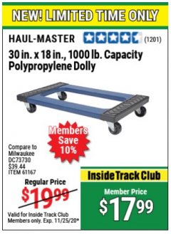 "Harbor Freight ITC Coupon 30"" x 18"" STEEL REINFORCED MOVER'S DOLLY Lot No. 61167/69566/93525 Expired: 11/25/20 - $17.99"