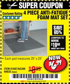 Harbor Freight Coupon 4 PIECE ANTI-FATIGUE FOAM MAT SET Lot No. 94635/61607/40187/62389 Expired: 6/13/18 - $6.99