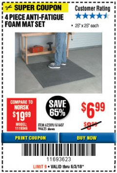 Harbor Freight Coupon 4 PIECE ANTI-FATIGUE FOAM MAT SET Lot No. 94635/61607/40187/62389 Expired: 6/3/18 - $6.99