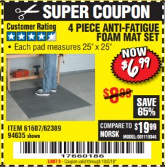 Harbor Freight Coupon 4 PIECE ANTI-FATIGUE FOAM MAT SET Lot No. 94635/61607/40187/62389 Expired: 10/5/18 - $6.99