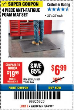Harbor Freight Coupon 4 PIECE ANTI-FATIGUE FOAM MAT SET Lot No. 94635/61607/40187/62389 Expired: 6/24/18 - $6.99