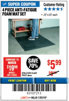Harbor Freight Coupon 4 PIECE ANTI-FATIGUE FOAM MAT SET Lot No. 94635/61607/40187/62389 Expired: 7/22/18 - $5.99