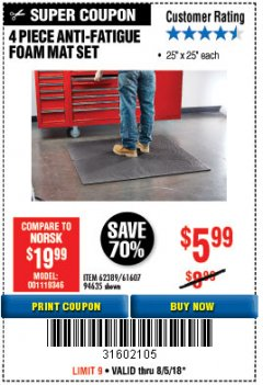 Harbor Freight Coupon 4 PIECE ANTI-FATIGUE FOAM MAT SET Lot No. 94635/61607/40187/62389 Expired: 8/5/18 - $5.99