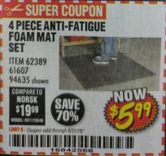 Harbor Freight Coupon 4 PIECE ANTI-FATIGUE FOAM MAT SET Lot No. 94635/61607/40187/62389 Expired: 8/31/18 - $5.99