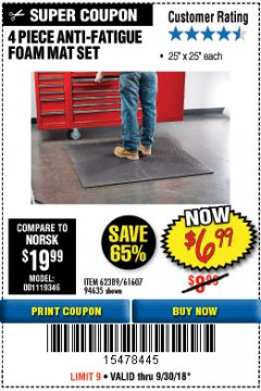 Harbor Freight Coupon 4 PIECE ANTI-FATIGUE FOAM MAT SET Lot No. 94635/61607/40187/62389 Expired: 9/30/18 - $6.99