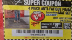 Harbor Freight Coupon 4 PIECE ANTI-FATIGUE FOAM MAT SET Lot No. 94635/61607/40187/62389 Expired: 1/4/19 - $6.99