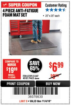 Harbor Freight Coupon 4 PIECE ANTI-FATIGUE FOAM MAT SET Lot No. 94635/61607/40187/62389 Expired: 11/4/18 - $6.99