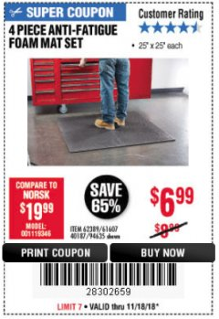 Harbor Freight Coupon 4 PIECE ANTI-FATIGUE FOAM MAT SET Lot No. 94635/61607/40187/62389 Expired: 11/18/18 - $6.99